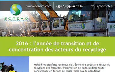 Retrouvez notre dernier emailing : 2016: L'année de transition et de concentration des acteurs du recyclage