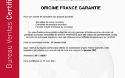 Le E40 valorisé par Sorevo est certifié Origine France Garantie